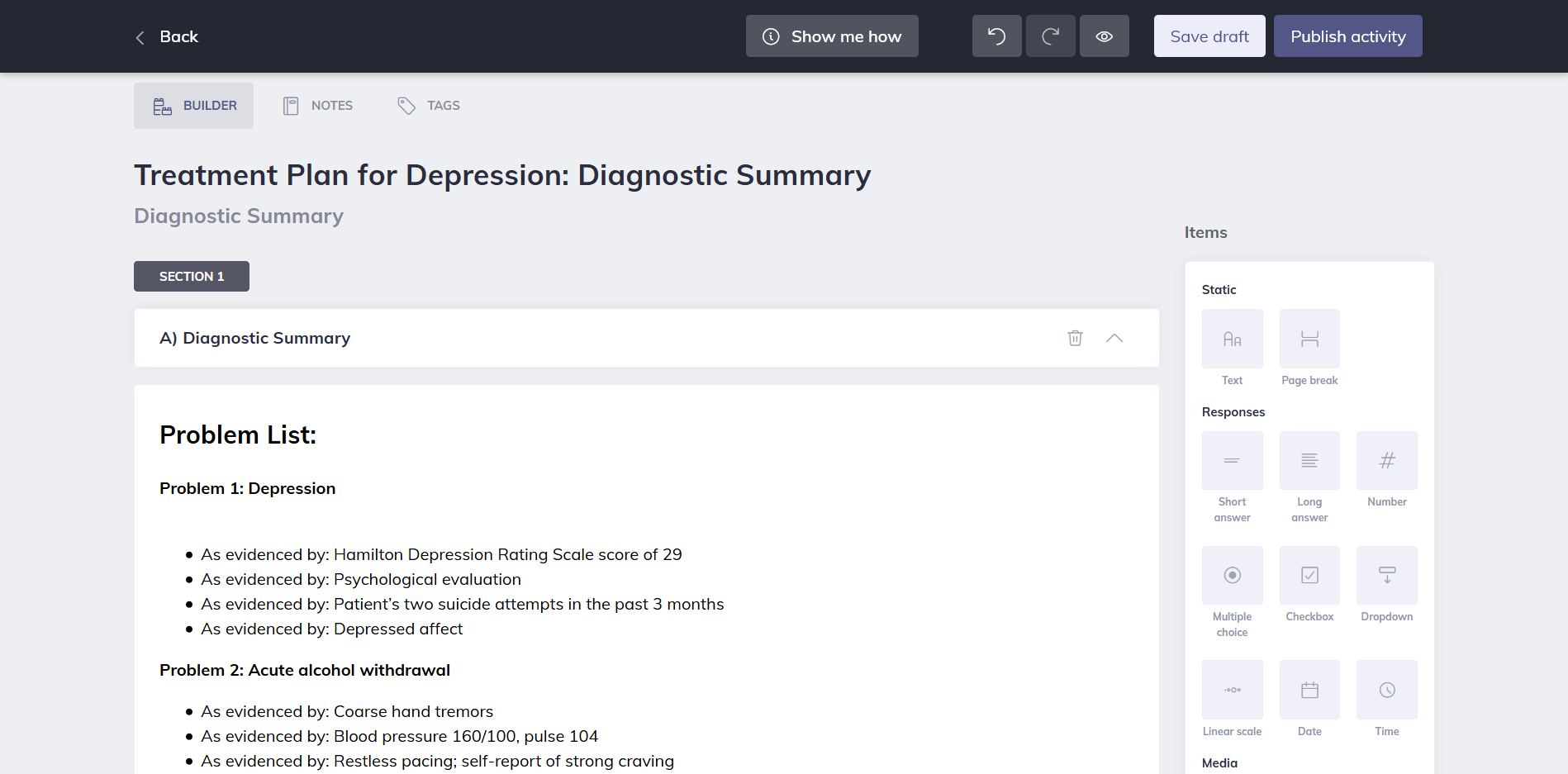 Quenza Online Treatment Plan for Depression Examples
