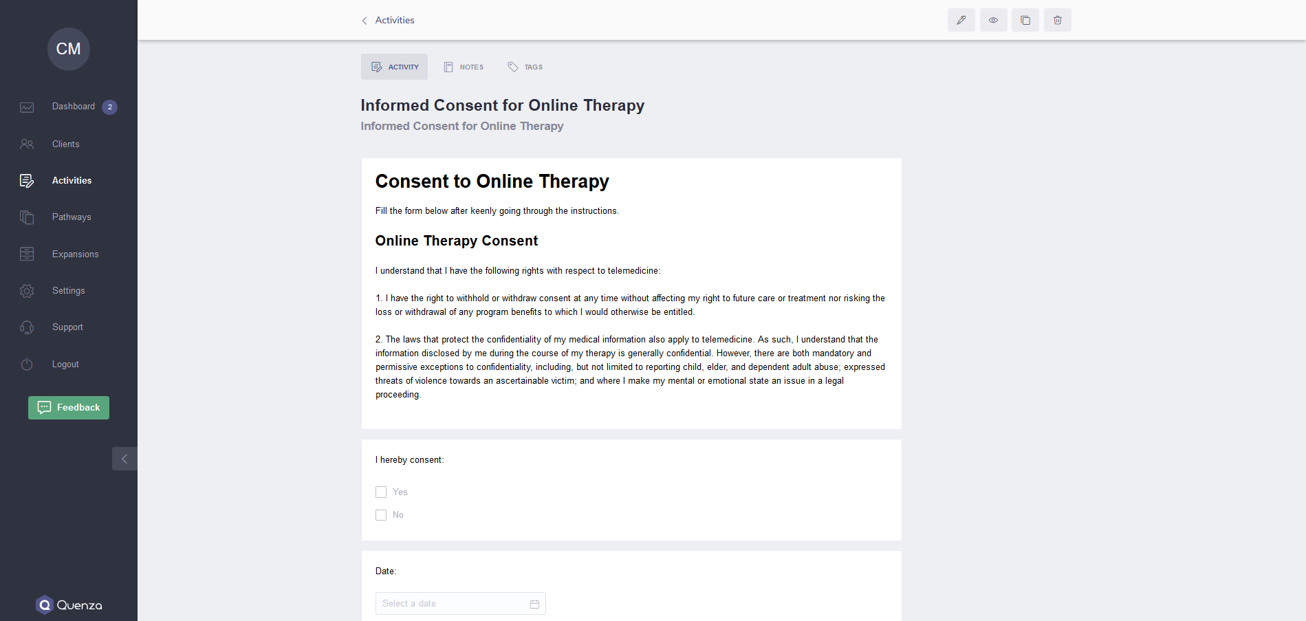 Quenza Treatment Software Online Consent Form