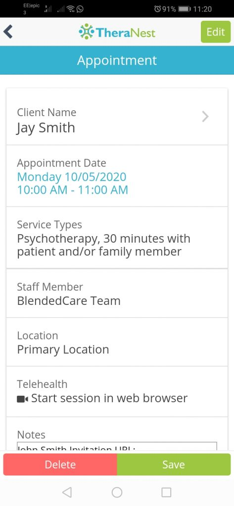 Scheduline Appointments TheraNest