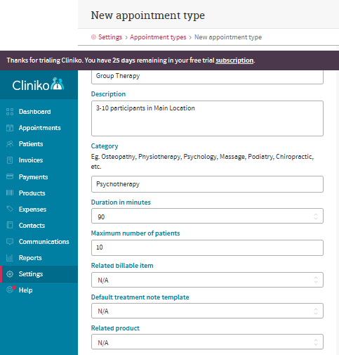 Cliniko Review New Appointment