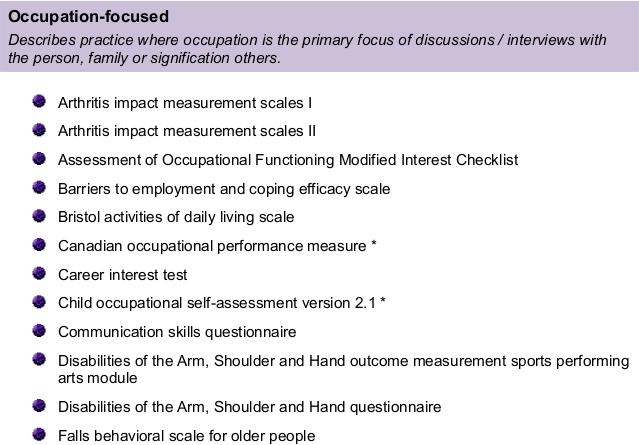 OT Assessment Examples