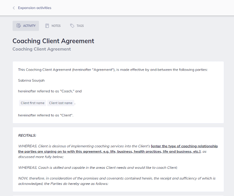 Coaching Client Agreement