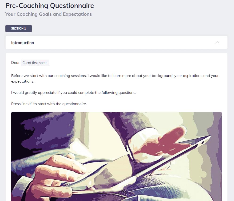 Coaching Session Pre Coaching Questionnaire