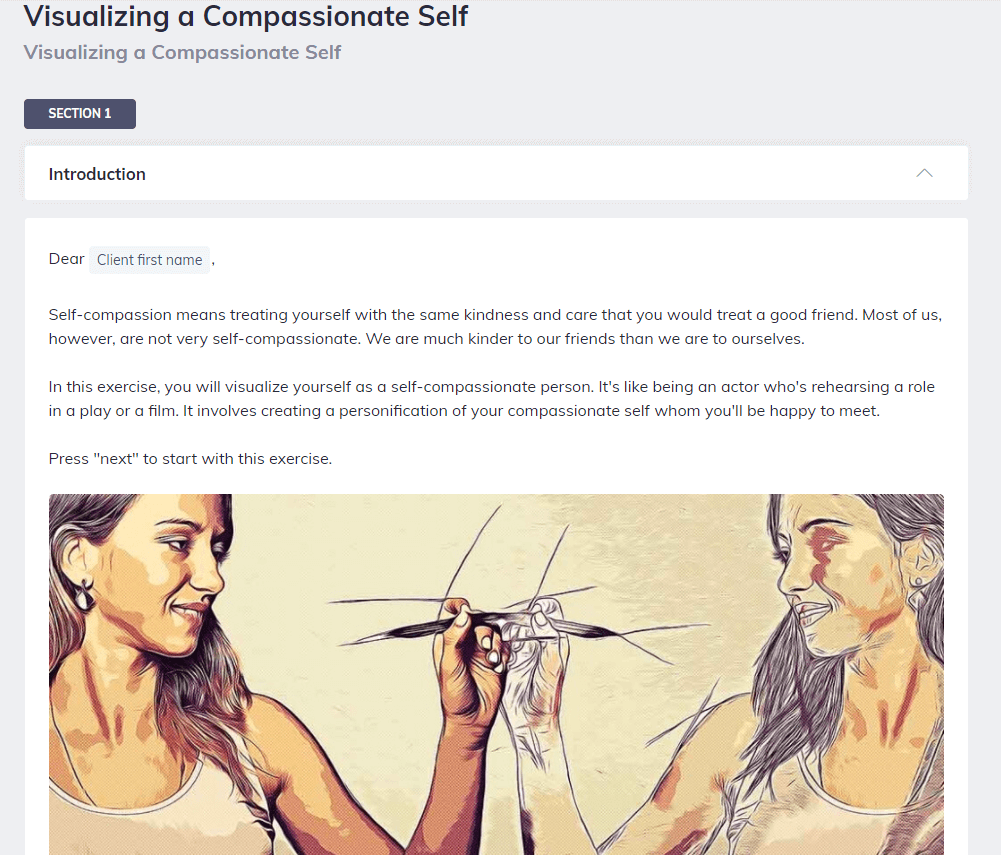 Screen shot of Quenza tool for Visualizing a Compassionate Self