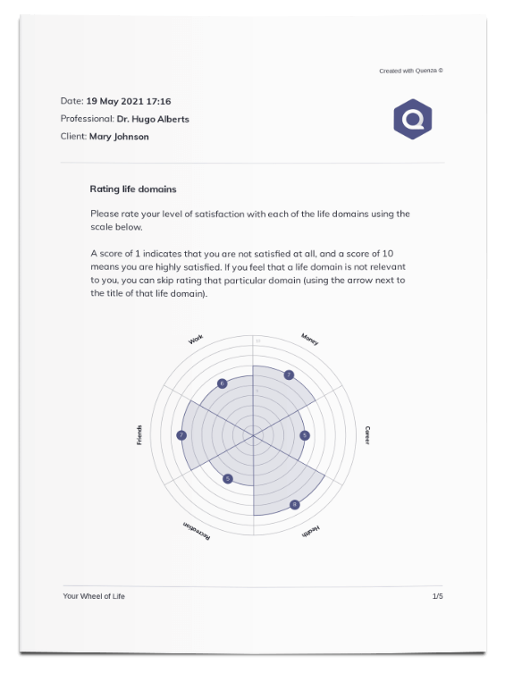 Download and print your clients' Wheel of Life results