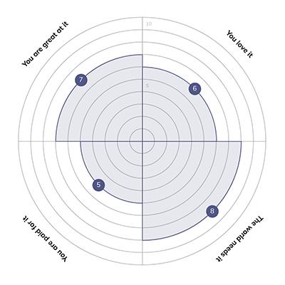 Quenza Ikigai Wheel of Life example